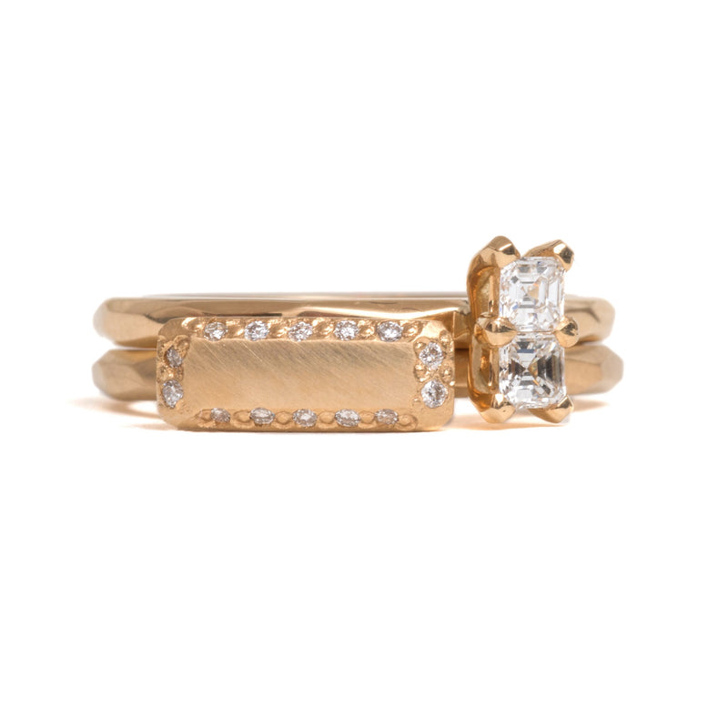 Gold Bar with Diamonds Ring - Krista McRae