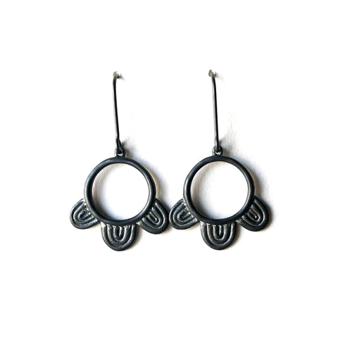Chroma Earrings Oxidised Silver - Emily Thomas
