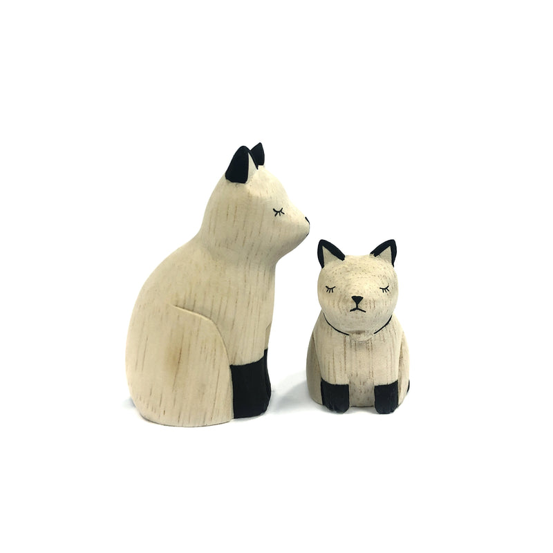 Wooden Carved Cat Pair - T-Lab