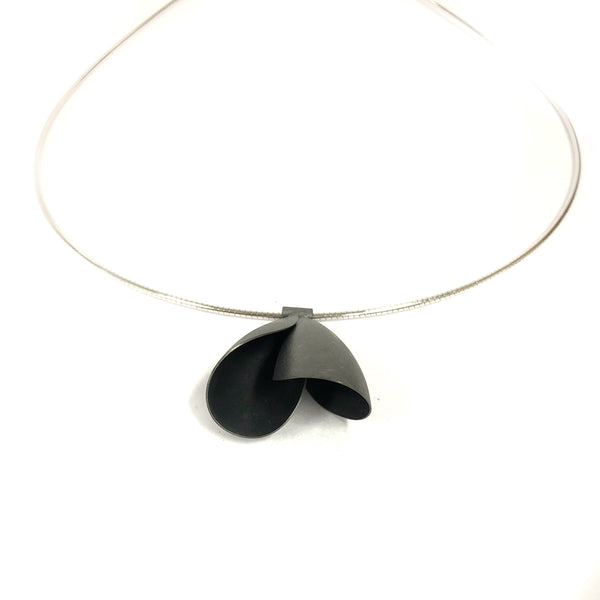 Tulip Oxidised Silver Necklace - Tip to Toe