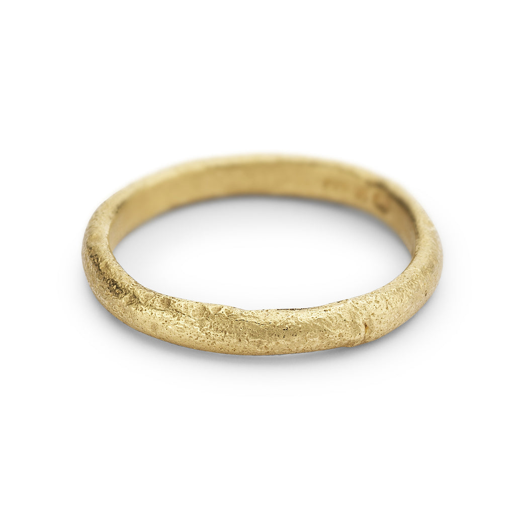 Textured Half Round 18ct Yellow Gold Wedding Band - Ruth Tomlinson