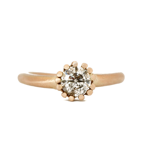 Salt and Pepper Solitaire Gold ring - Aphra Ellen