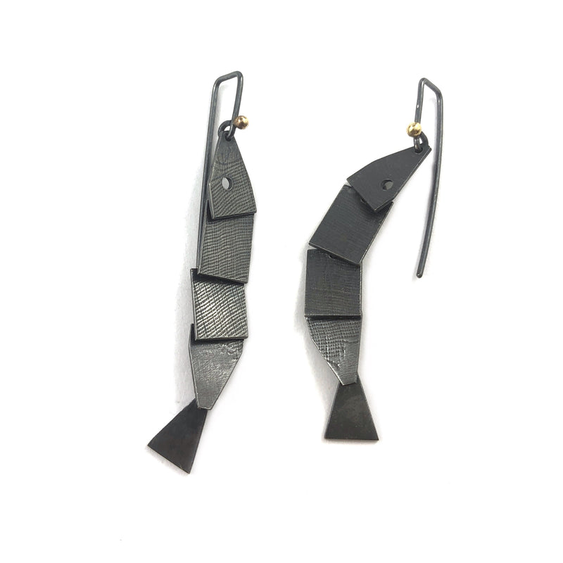 Long Oxidised Articulate Fish Earrings - Cynthia Nge