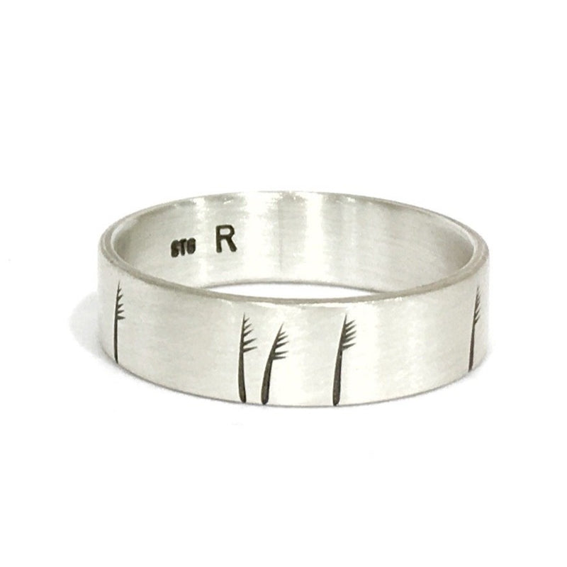 Silver Etched Grass Ring - Ash Hilton