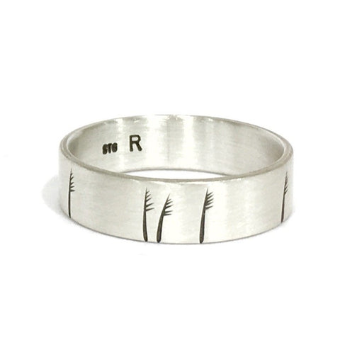 Silver Etched 5mm Ring - Ash Hilton
