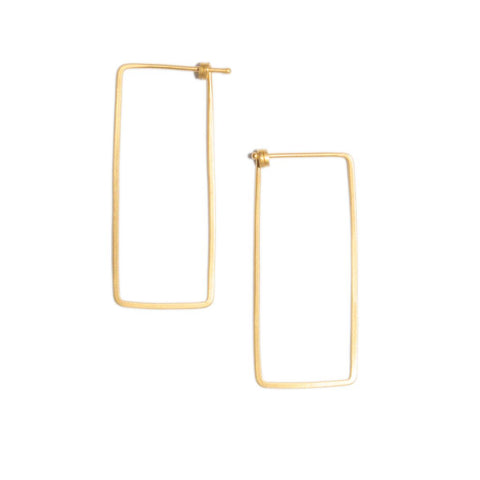 Small Rectangular Dainty Hoop in 14ct gold - Carla Caruso