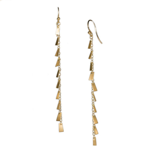 Long Flutter Strand Earrings in 14ct gold - Carla Caruso