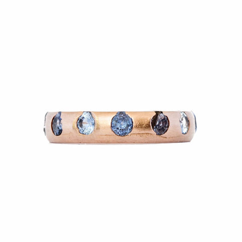 Blue Sapphire Rose Gold Medium Ring - Polly Wales