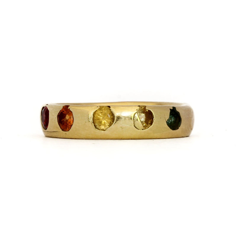 Colourful Rainbow Sapphire Yellow Gold Ring - Polly Wales