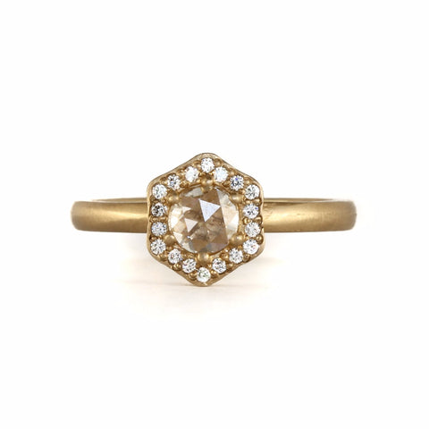 Hexagon Halo Ring by Rebecca Overmann