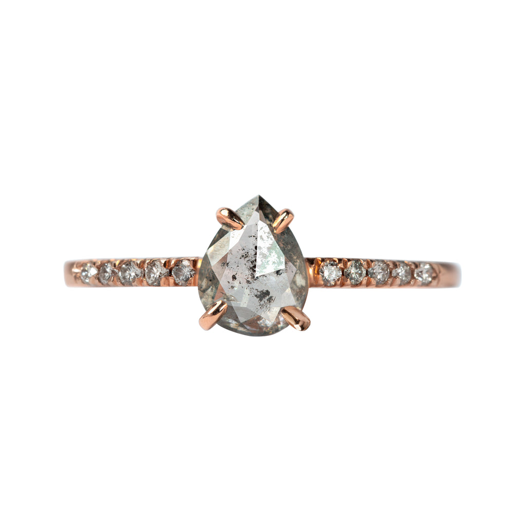 .67 carat Salt and Pepper Pear Diamond Ring