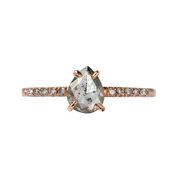 .67 carat Salt and Pepper Pear Diamond Ring - Point No Point