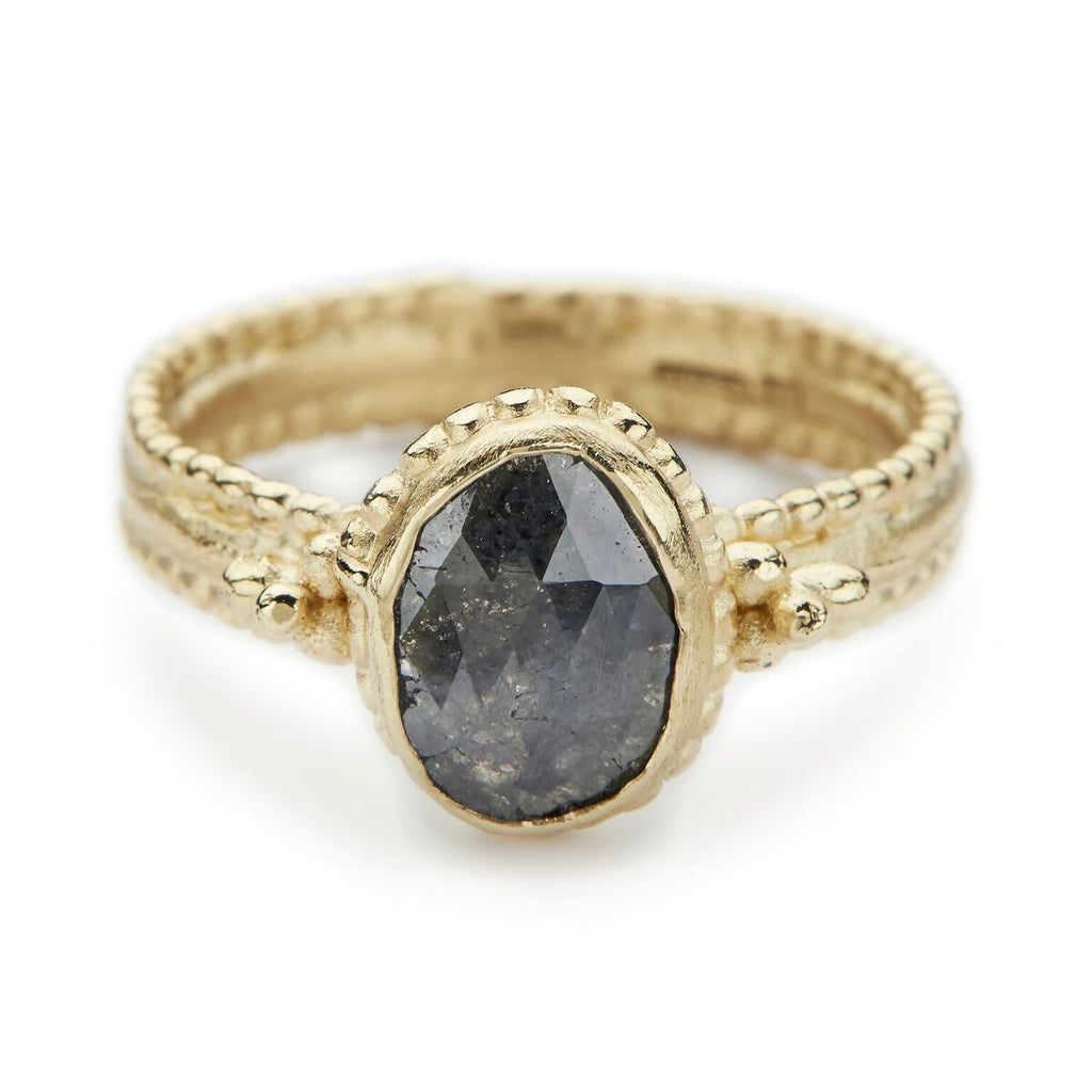 Oval Dark Grey Diamond Ring - Ruth Tomlinson