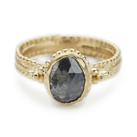 Dark Grey Oval Diamond Ring - Ruth Tomlinson