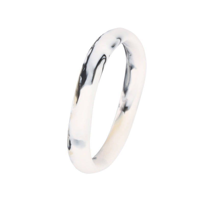 Wishbone Bangle in White Marble - Dinosaur Designs