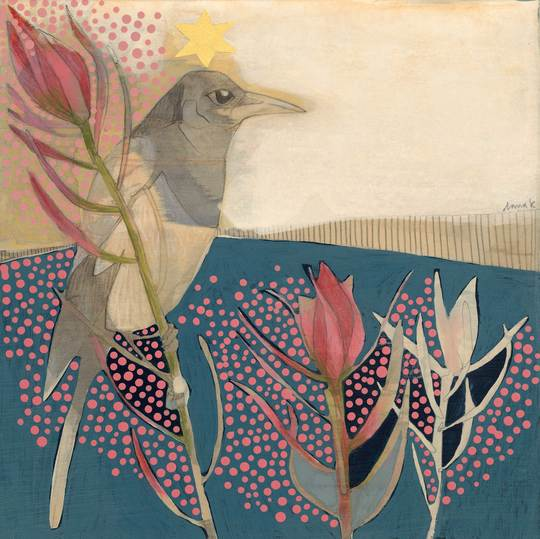 Magpie and Leucadendron Mini Print - Dana Kinter