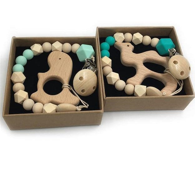 Collection of TWO Organic Wooden Teethers