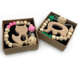 Collection of TWO Organic Wooden Teethers by Frugal Babies.com