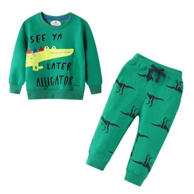 Cartoon Printed Sweat-sets by Frugalbabies.com