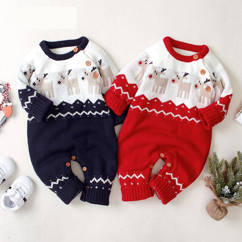 Newborn Jumpsuit Spring Boys And Girls Christmas Warm Rompers Knit Sweater Long Sleeved Lovely Baby Children's Clothes Outwear