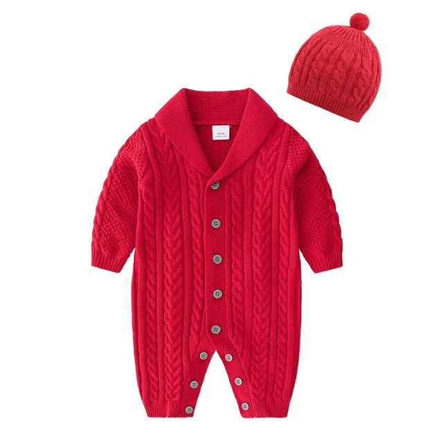 Knitted Cotton Baby Jumpsuit with Hoodie by Frugalbabies
