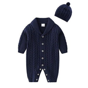 Knitted Cotton Baby Jumpsuit with Hoodie