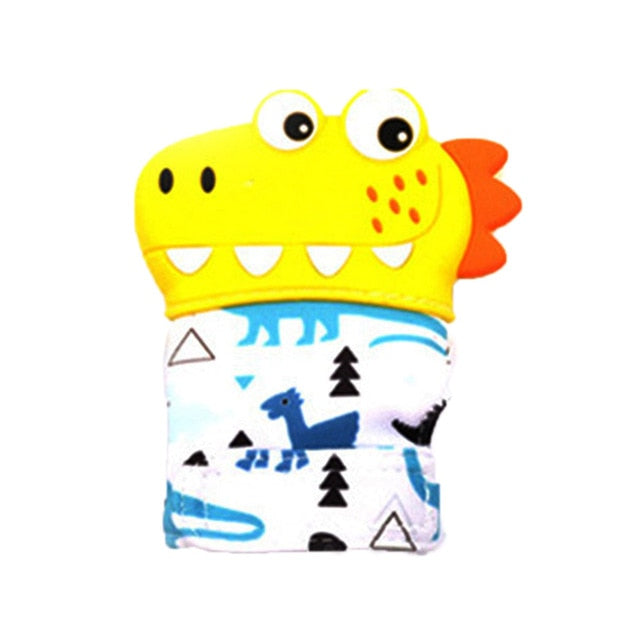 Dinosaur Cartoon Teething Gloves Mittens by frugalbabies.com