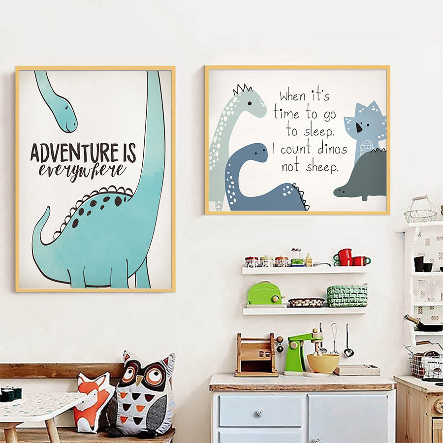 Dinosaur Cotton Canvas Posters for Nurseries by frugalbabies.com