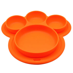 Bear Paw Shape -  Suction Silicone Plate by Frugalbabies.com