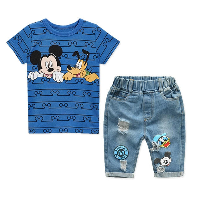 Mickey Mouse & Friends Cartoon Short Sleeve T-shirt & Jeans Set by Frugalbabies.com