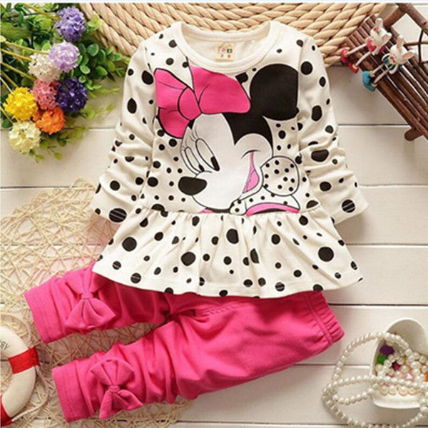 Disney Minnie Mouse Two Piece Cotton Bow Tops & Pants by frugalbabies.com