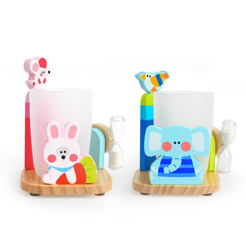 Wooden Toothbrush Holder with Hourglass Timer by Frugalbabies.com