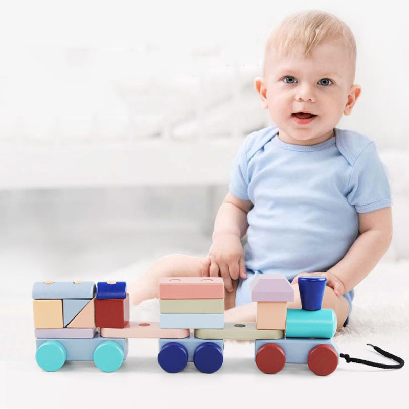 Wooden Train & Blocks by frugalbabies.com