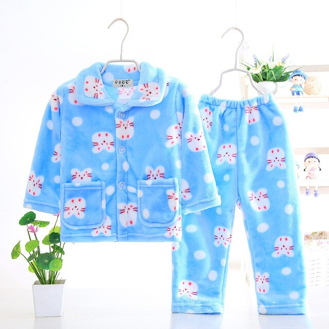 Little Ladies Warm Winter Coral Fleece Pajamas Sets