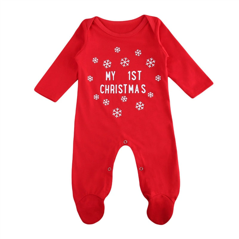 Pudcoco Snow Print Girls Red Christmas Fashion Rompers Bebe My 1st Christmas Letter Costumes for Kids Clothes Infant Clothing