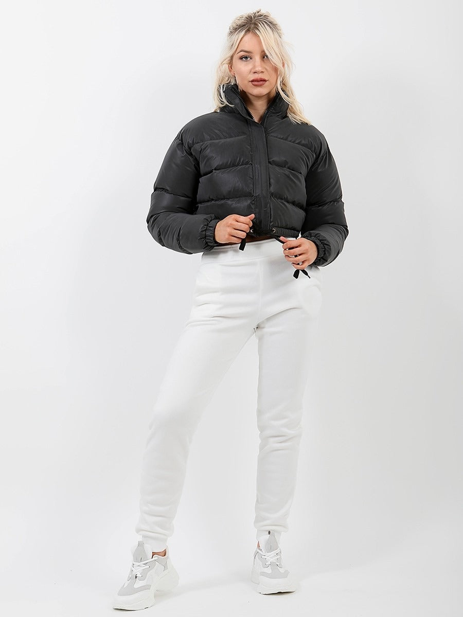 Reflective Cropped Puffer Jacket - Black