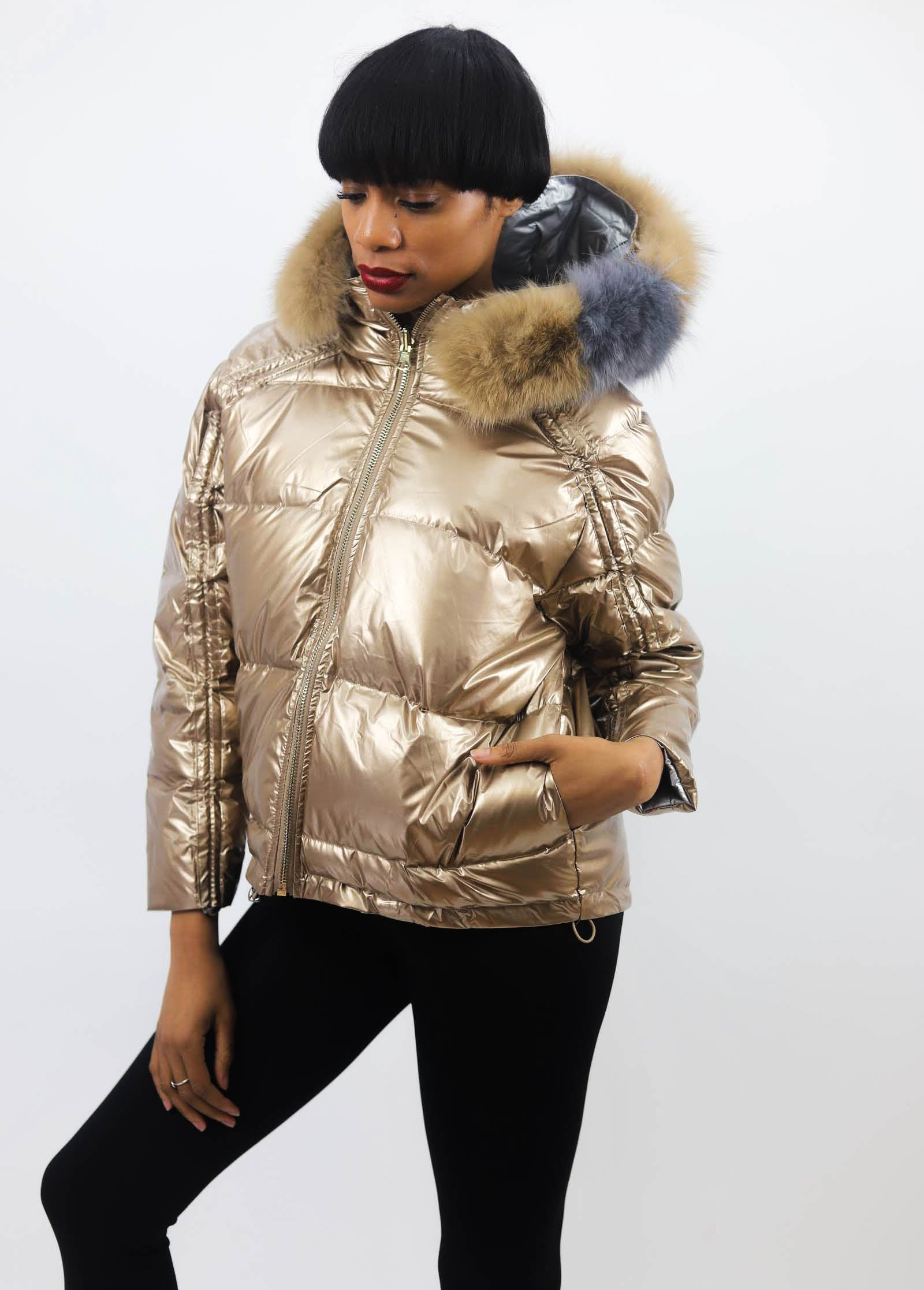 Amanda Fur Hood Reversible Jacket