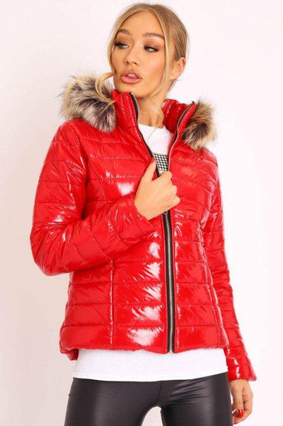 Wet Look Faux Fur Hooded Jacket