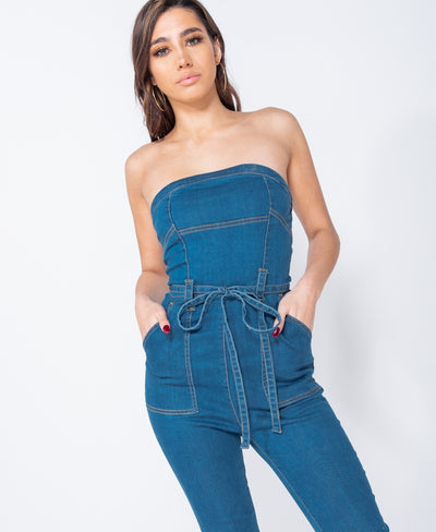 Denim Bandeau Waist Tie Seam Detail Jumpsuit