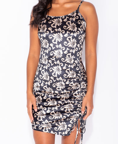 Floral Print Velvet Ruching Detail Bodycon Mini Dress
