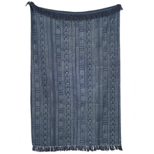 Load image into Gallery viewer, Blue Mudcloth Throw With Added Tassels