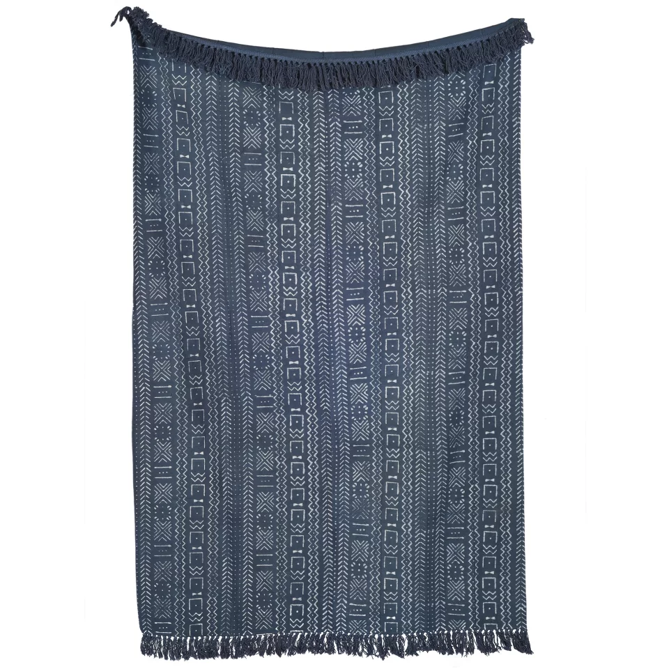 Blue Mudcloth Throw With Added Tassels
