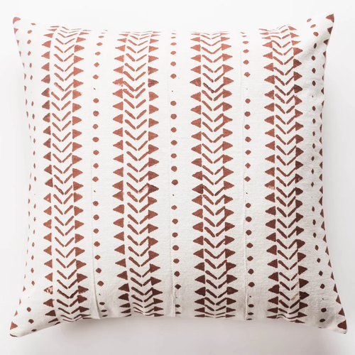 White and Rust Mudcloth Pillow Covers