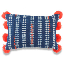 Load image into Gallery viewer, Orange and Blue POM-POM Baoule Pillow Covers