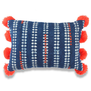 Orange and Blue POM-POM Baoule Pillow Covers