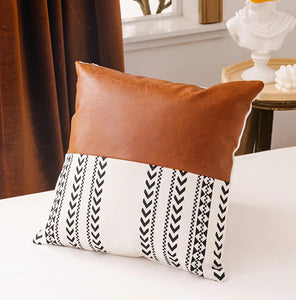 Faux Leather x Mudcloth Pillow Cover