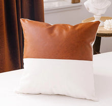 Load image into Gallery viewer, Faux Leather x Mudcloth Pillow Cover