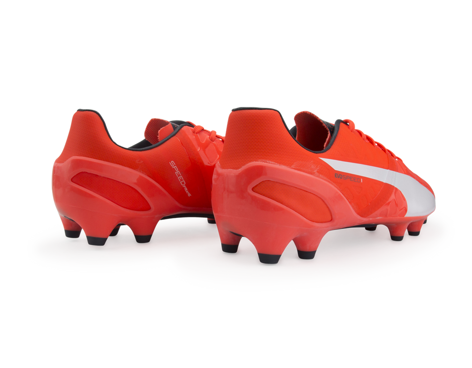 PUMA Men's evoSPEED 1.4 FG Lava Blast/White/Total Eclipse