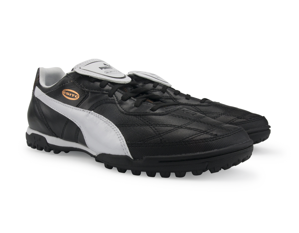 PUMA Men's Esito Classico Turf Soccer Shoes  Black/White/Bronze
