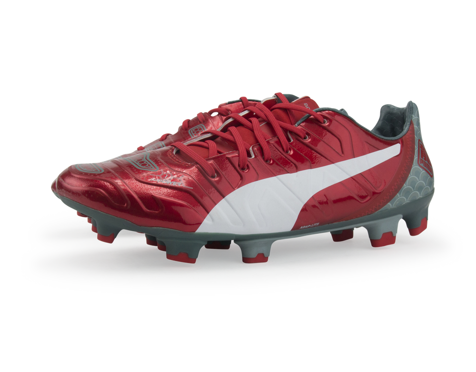 PUMA Men's evoPOWER 1.2 Graphic FG High Risk Red/White/Sea Pine